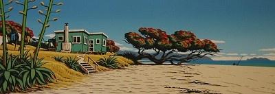 'Back Beach Bach' by Tony Ogle, NZ. A bach from the beach, with pohutakawa and sand.