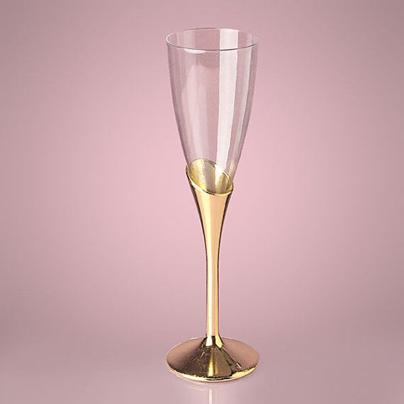 """9"""" Gold Plastic Champagne Wine Flutes Glasses Party Holiday Bachelorette Wedding Thanksgiving Christmas Hanukkah New Year's Eve Dinner Decor"""