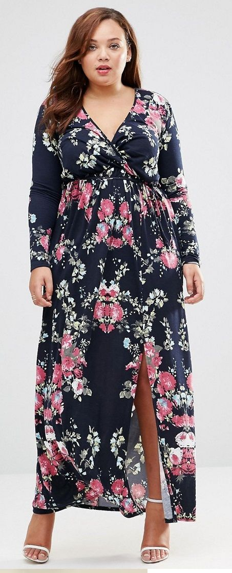 Plus Size Maxi Dress With Wrap Front