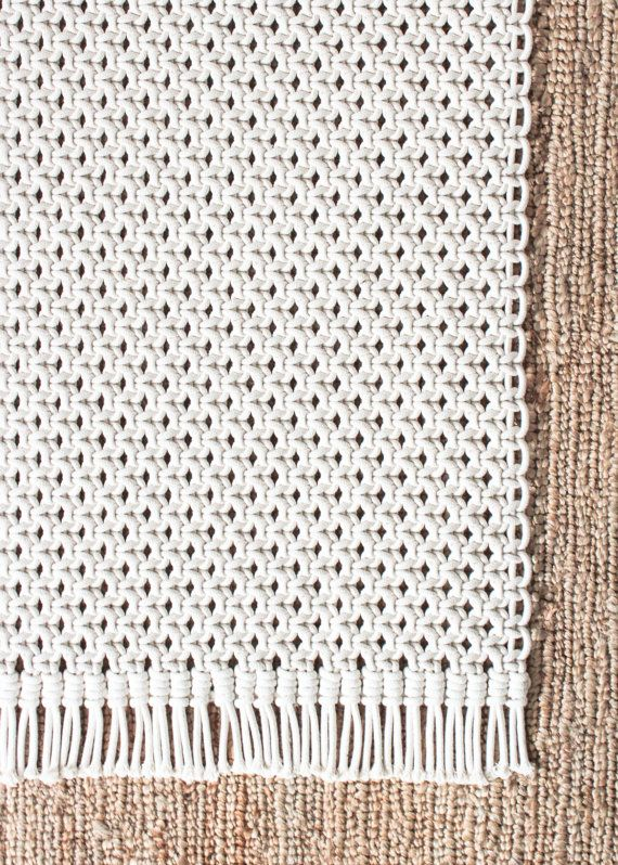 Macrame Rug 100% Cotton Cord in Natural Ecru by JoJansenCo
