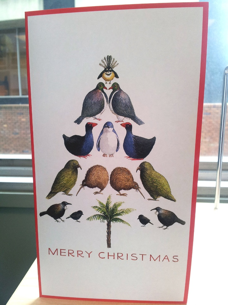 December 6. From Where You Live/Your Country: My first Christmas card at work - a tree of native NZ birds (Fanitail, Kererū, Pukeko, Little Blue Penguin, Kea, Kiwi, Tui, Black Robin and a Ponga Tree! #FMSphotoaday