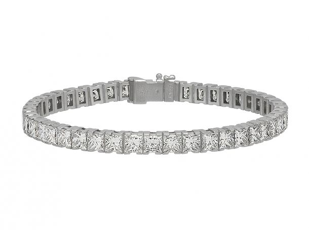 Cartier Princess Cut Diamond Line Bracelet In Platinum