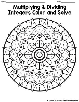 Multiplying and Dividing Integers Color and Solve by To the Square Inch- Kate Bing Coners | Teachers Pay Teachers