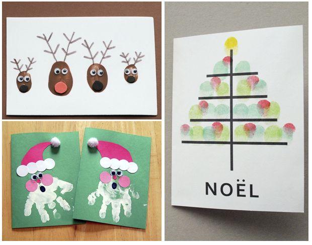 Cr er des cartes avec les empreintes des doigts ou de la - Postales de navidad para hacer con ninos ...