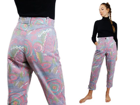 JEANS a vita alta / alta vita Denim / Pink Highwaist Jeans / High Waist Jeans Vintage / Funky Jeans / 80s Highwaist Jeans