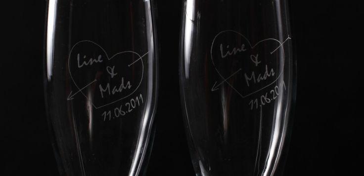Bryllup - Den store dagen - Gravering påbryllupsglass til brudeparet : Utstyr merking og gravering as,