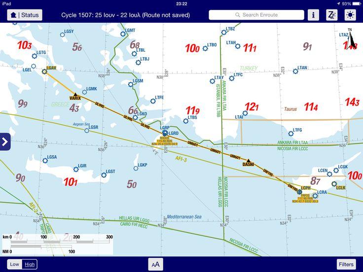 Η πορεία της πτήσης μας για την Πάφο της Κύπρου.