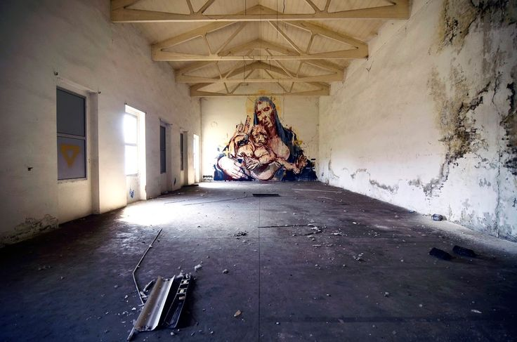 Street Art Collaboration By Borondo And Cane Morto In Bologna, Italy. 2