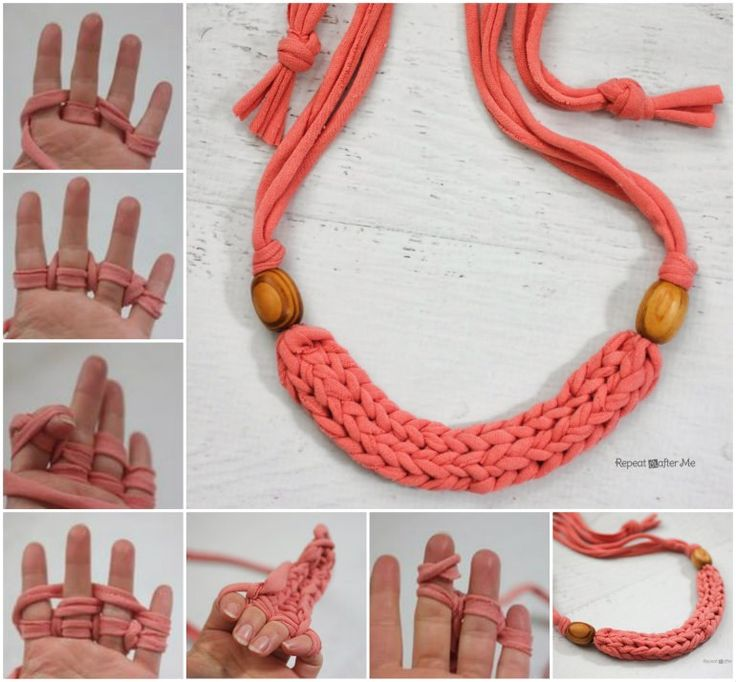 Finger Knit T-Shirt Yarn Necklace