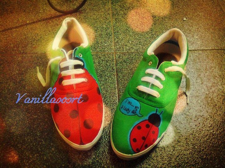#bug #kumbang #green #trees #handpaintedshoes #vanillasosrt