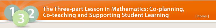 Videos by Ministry of Ed on The Three-part Lesson in Mathematics: Co-planning, Co-teaching and Supporting Student Learning