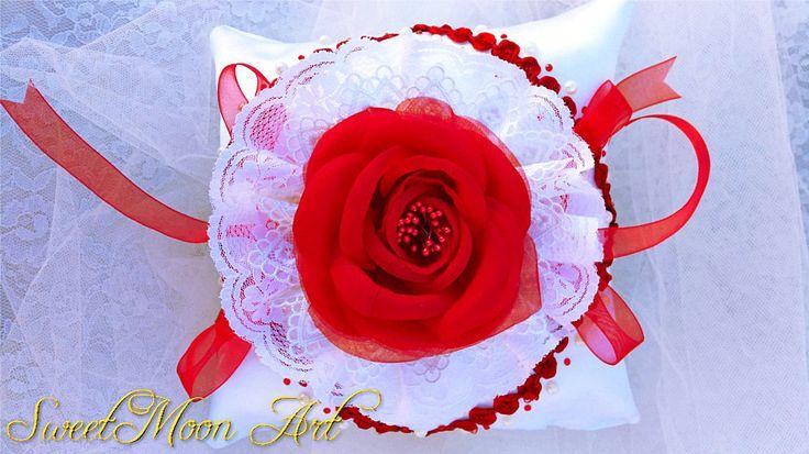cojín portador anillos de boda,almohada anillos flor central roja, almohada flor, regalo para boda, almohada nupcial, cojín alianzas de boda de SweetMoonArt en Etsy