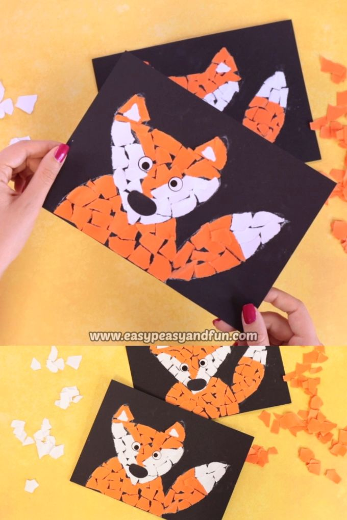 Paper Collage Fox Craft – Torn Paper Art Ideas – Mosaic Collage