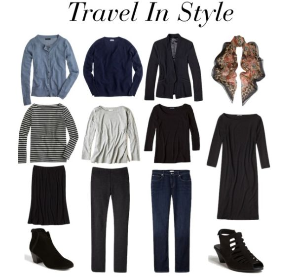 Travel wardrobe starter kit.  I think this is such a good idea for me that I'm pinning it again. :)