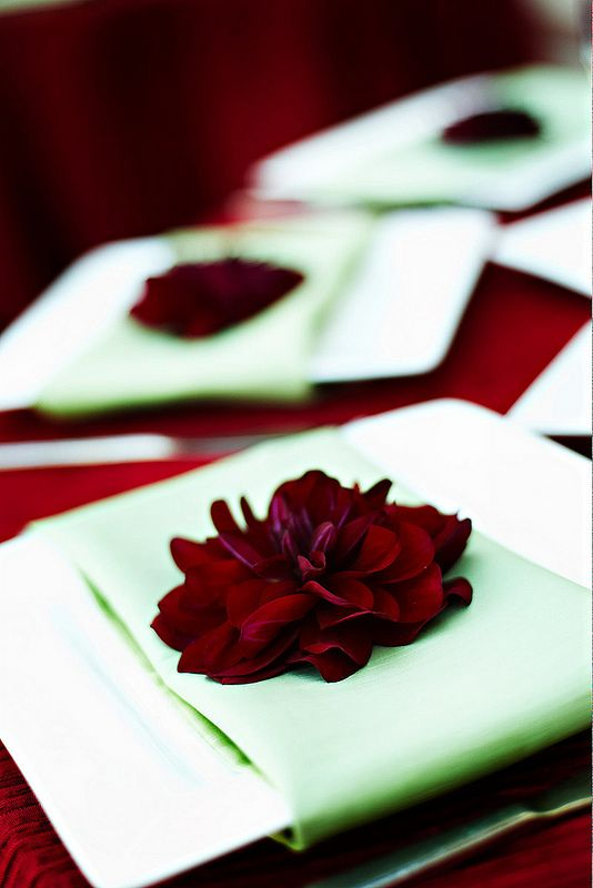 I absolutely love this! Claret red flowers on crisp, mint linen napkins as a place setting at a wedding reception - so simple and yet so stunning. Image by Lara White (CC-BY-ND). www.photomint.com/blog