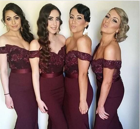 Free shipping, $104.05/Piece:buy wholesale Burgundy Mermaid Bridesmaid Dresses Sexy Off the Shoulder Lace Beads Vestido madrinha Dark Wine Red Maid of Honor Dress Wedding Party Gowns from DHgate.com,get worldwide delivery and buyer protection service.