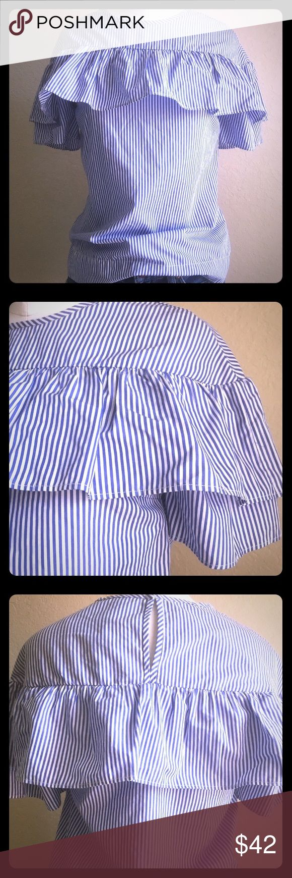 J. Crew Ruffle Blouse Adorable J. Crew ruffle blouse. Traditional oxford blue and white stripes. Perfect with a pencil skirt for the office or wear it casual with jean shorts and wedges!! Size 00 (fits XXS). Brand new with tags!!! J. Crew Tops Blouses