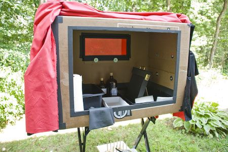 """DIY Darkroom... interesting way of developing photos if you don't have the space - or """"bat cave""""..."""