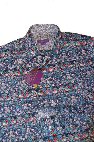 The Strawberry Thief, a blue printed men's shirt – Nineteenthirty Menswear
