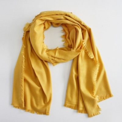 Redcurrent Mustard Soft Touch Fringe Scarf