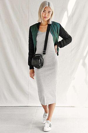 серое платье миди без рукава с чем носить - Поиск в Google