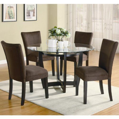 modern 48 inch round glass top dining set by coaster by coaster home