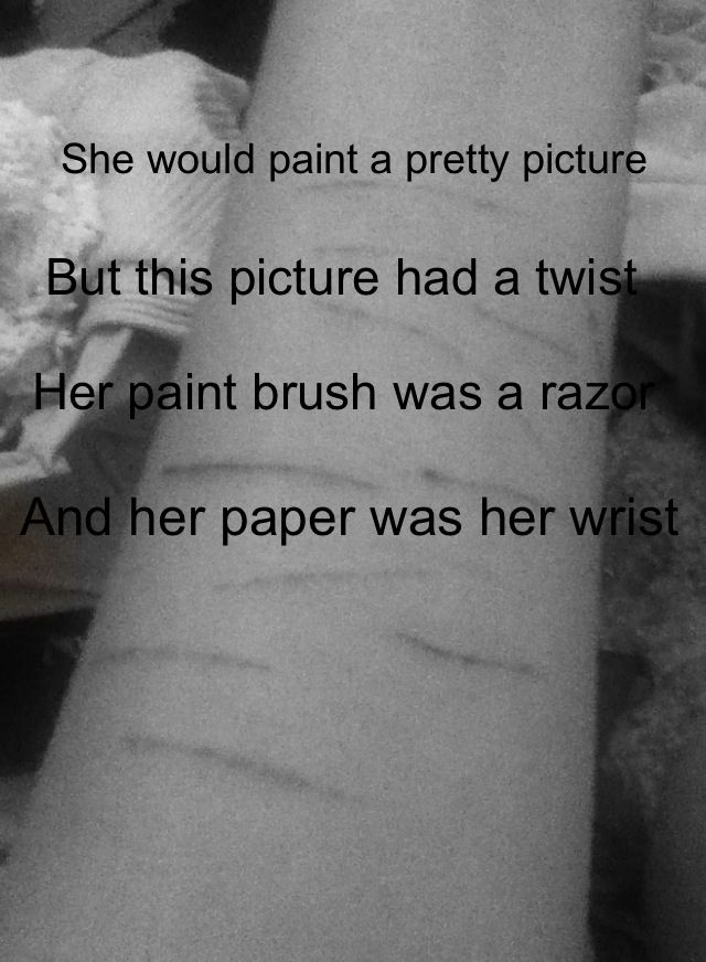 Self harm its painful not the cuts the emotional scars ...