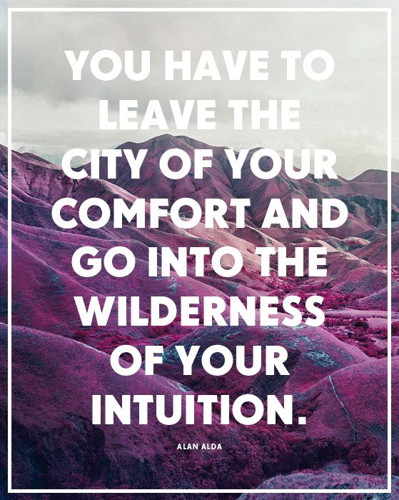 "I dedicated a year to this idea. ""You have to leave the city of your comfort and go into the wilderness of your intuition.   - Alan Alda"