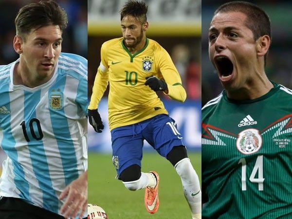 Lionel Messi,Neymar y Javier Hernández alistandose para la Copa America (Centenario)  Dic 25, 2015.