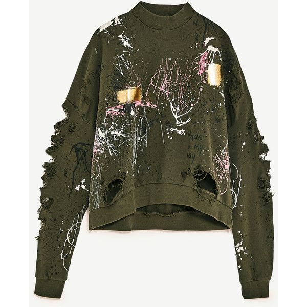 GRAFFITI SWEATSHIRT - NEW IN-WOMAN-COLLECTION SS/17 | ZARA United... ($60) ❤ liked on Polyvore featuring tops, hoodies and sweatshirts