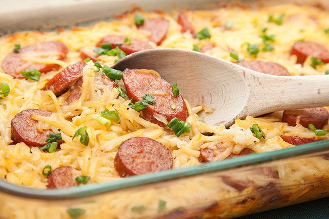 This Sausage-Potato Casserole is a comfort food classic that takes only 20 minutes to prep for the oven, thanks to the use of frozen shredded hash browns.