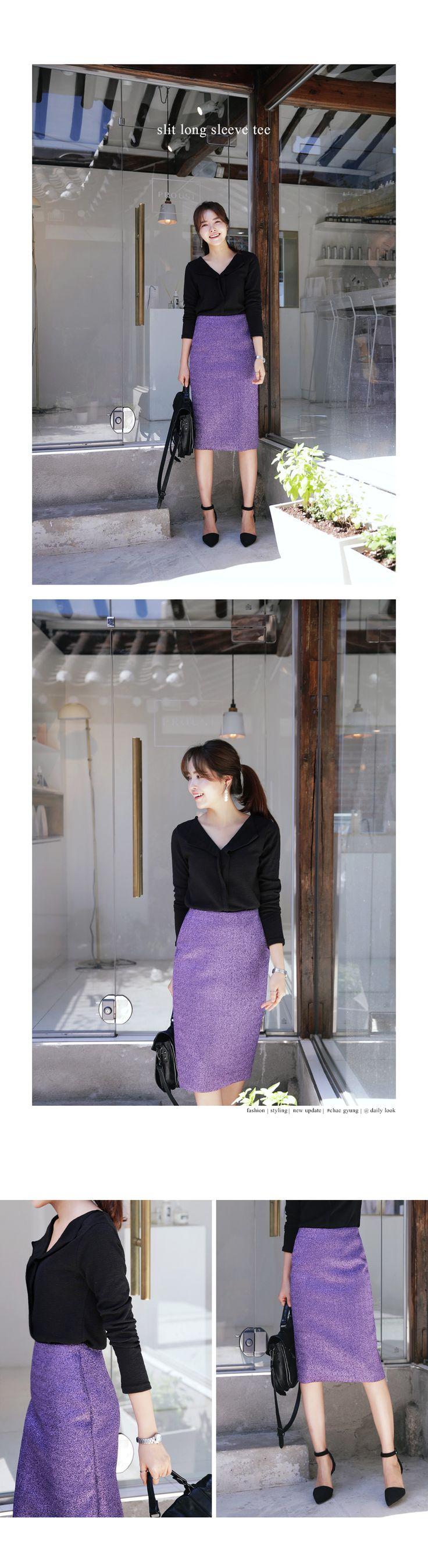 VネックスリットTシャツ・全4色トップス・カットソーカットソー・Tシャツ レディースファッション通販 DHOLICディーホリック [ファストファッション 水着 ワンピース]