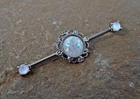 White Glitter Opal Industrial Barbell Scaffold Piercing 14ga Body Jewelry…