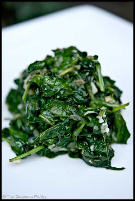 Clean Eating Garlic Spinach!   I LOVE this recipe and eat it at least once a week! Don't skip the shallot and for simplicity, I use a whole bag of spinach....it shrinks down! :)