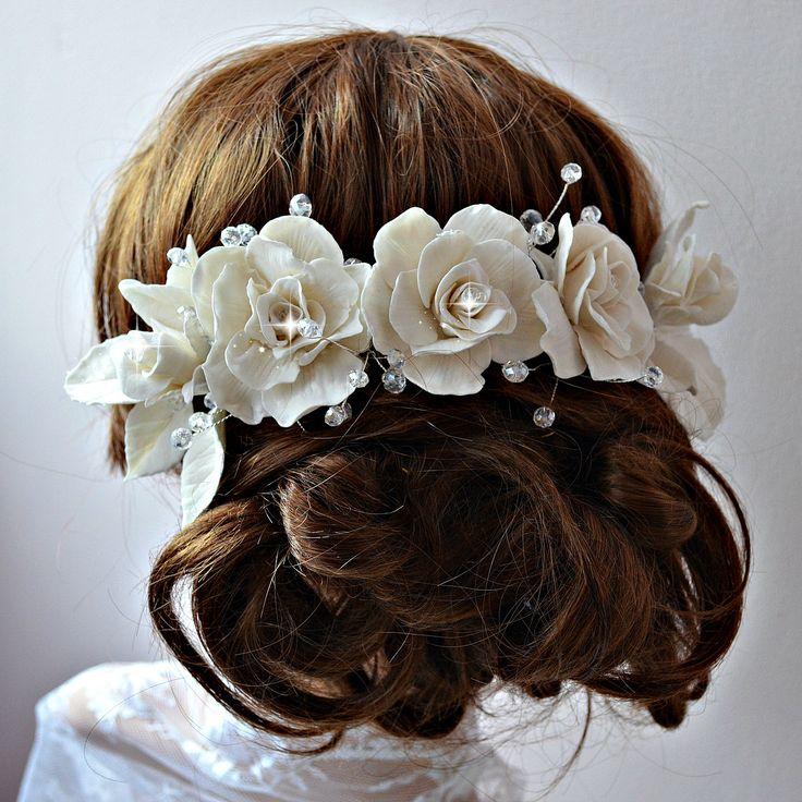 Bridal headpiece, Romantic wedding hair piece, Bridal hair adornmets, Large bridal hair comb, Porcelain hair roses, Summer wedding headpiece by RitzyFlowers on Etsy
