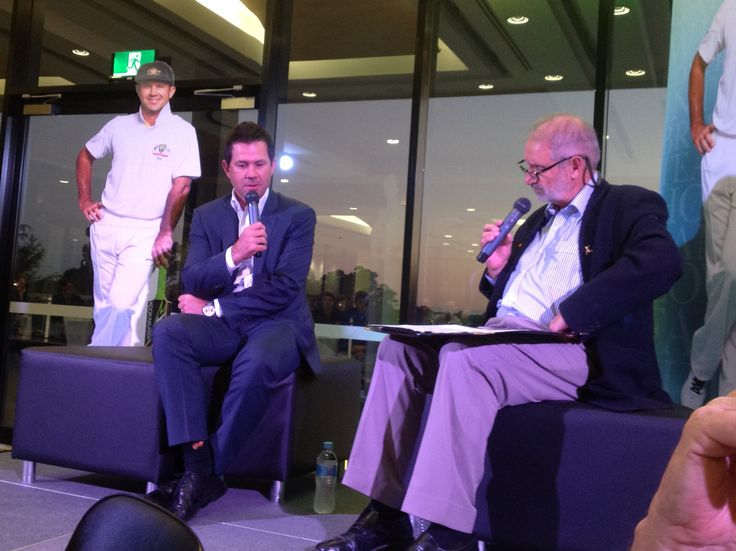 Ricky in conversation with acclaimed cricket journalist Mike Coward at St Joseph's school in Sydney