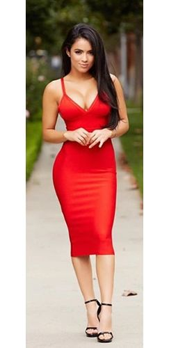 Will You Be Mine Red Spaghetti Strap V Neck Bandage Bodycon Midi Dress