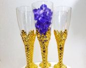 12 Gold Champagne Flutes - Perfect For ROYAL PURPLE and GOLD Baby Shower Theme or Lavender and Gold Baby Shower Prince Decorations