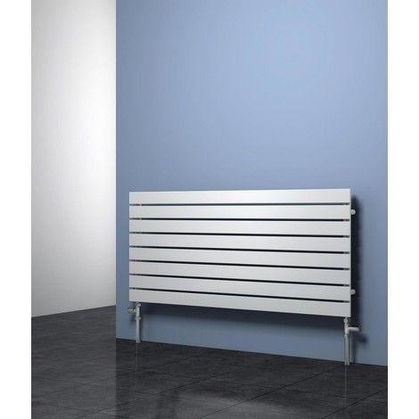 Reina Rione Steel White Horizontal Designer Radiator 550mm x 400mm Single Panel Central Heating