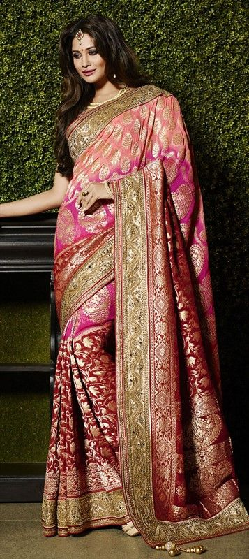 Designer embroidered Saree  187917 Pink and Majenta,Red and Maroon  color family Bridal Wedding Sarees in Viscose fabric with Border,Machine Embroidery,Mirror,Resham,Stone,Zari work   with matching unstitched blouse.