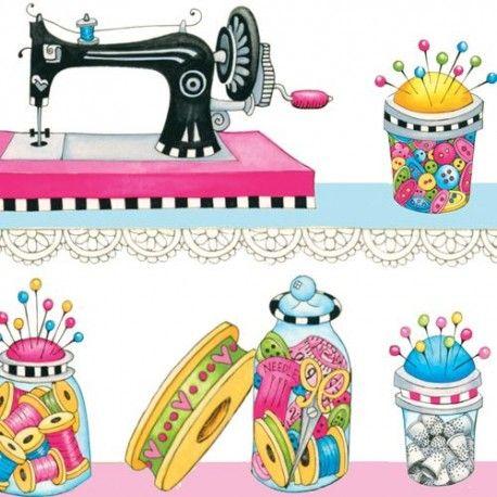 Tela blanca hilera máquina de coser dedal hilo costura colores Henry Glass