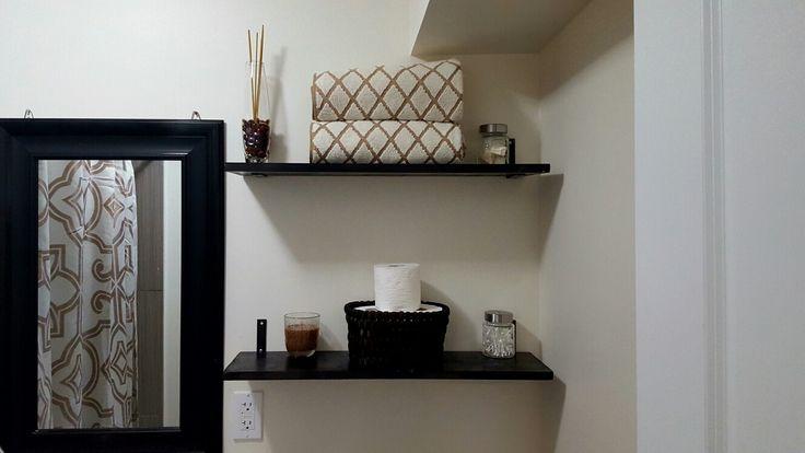 Pinterest inspired DIY floating shelves! All for under $50! #floatingshelves #bathroom #diy #brown #bathroom #bathroomdecor #cream #interiordesign