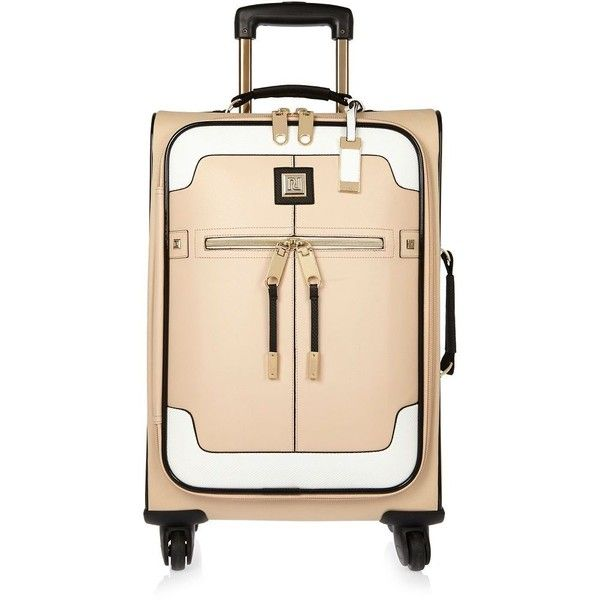 river island beige colour block suitcase 75 liked on polyvore featuring bags