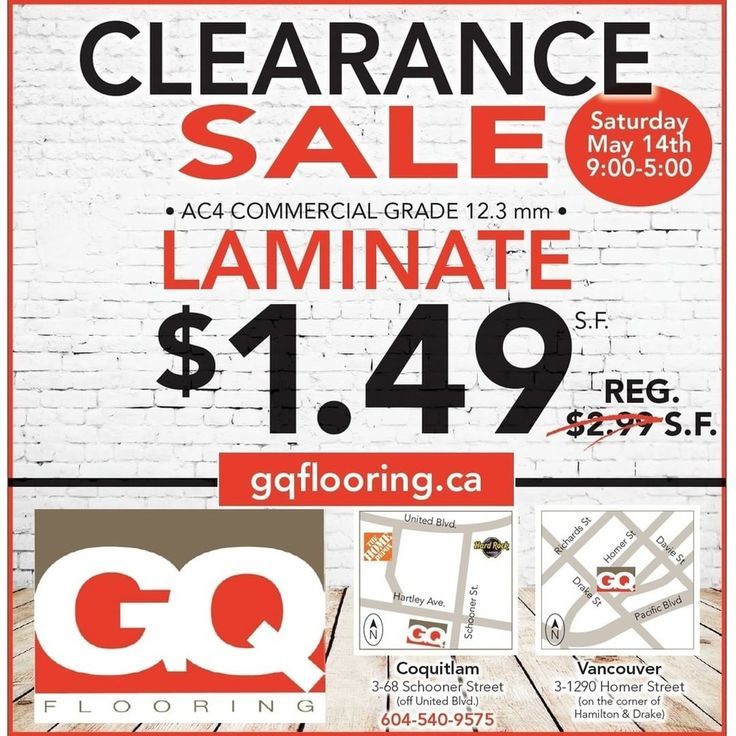 FLOORING - CLEARANCE TENT SALE!!! Drop by our Coquitlam location and check out our Clearance Tent Sale this Saturday, May 14th, 2016 from 9:00am - 5:00 pm! GQ Flooring - Coquitlam 3-68 Schooner Street Coquitlam, BC V3K 7B1