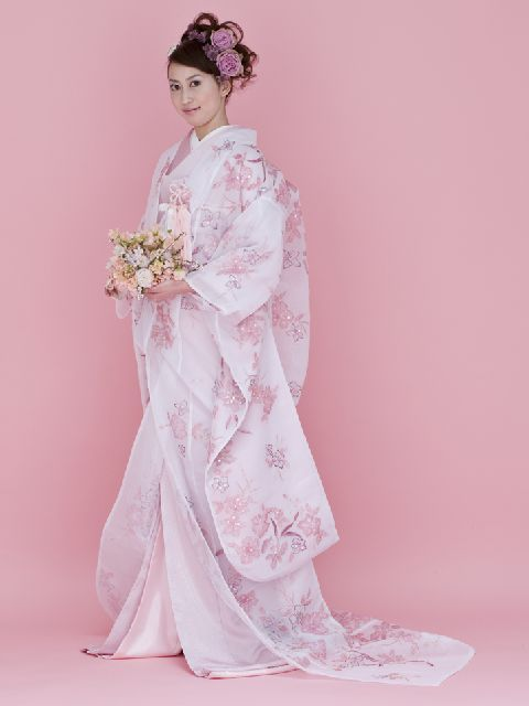 Romantic Uchikake with Pale Pink and Lavender Floral Designs