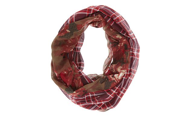 """Floral Checked Snood. """"A snood makes a great alternative to a scarf, and this style combines floral and check prints for a striking effect."""""""