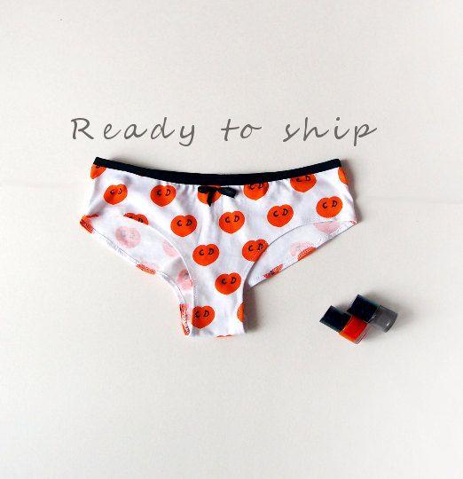 Brazilian Cut Panties Orange Cotton Knickers Bright by bonboneva