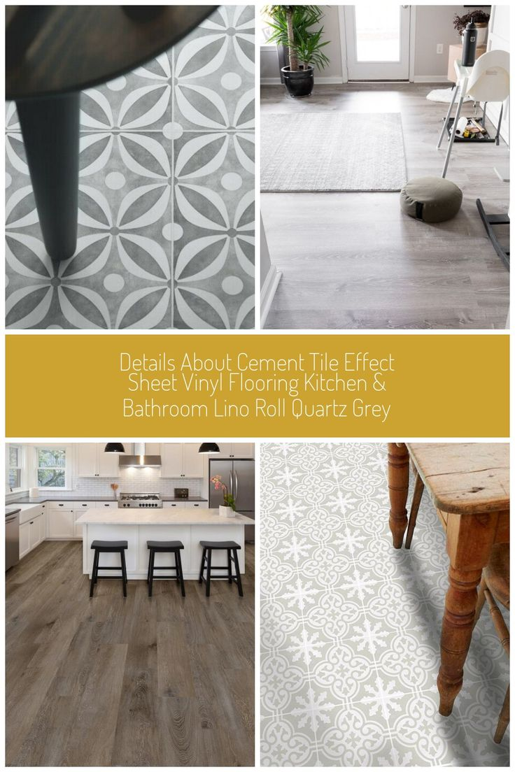 Cement Tile Effect Sheet Vinyl Flooring Kitchen Bathroom
