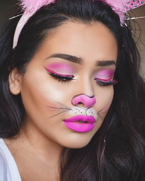 Cute Pink Bunny Halloween Makeup Look