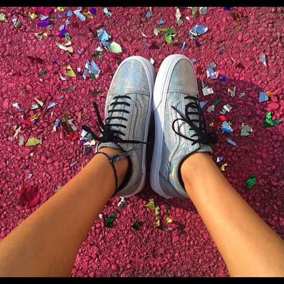 Glitter Vans SOLD The cutest vans EVER. Love these so much but I have a narrow foot and need something more slim! Goes with so many outfits and adds a pop of fun. Worn 5 or so times Vans Shoes Sneakers